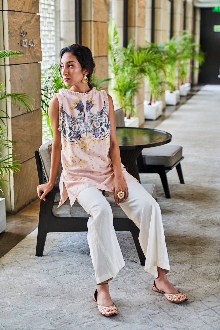 Pink and Ivory Digital Print Tunic and Pants