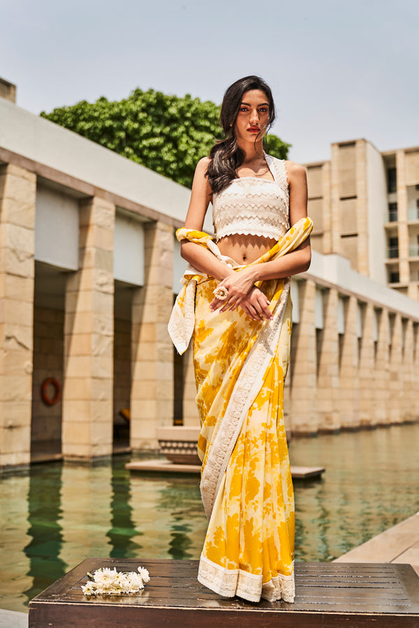 Yellow Printed Saree with Ivory Blouse