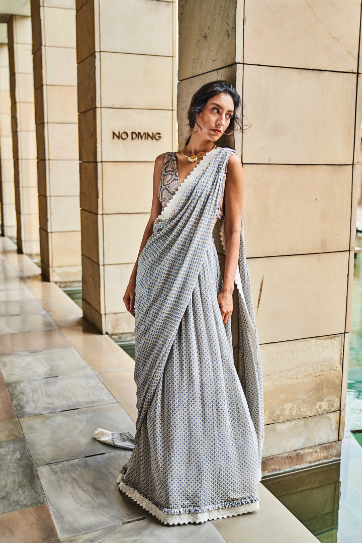 Ivory and Blue Gingham Check Pre Draped Saree with Blouse