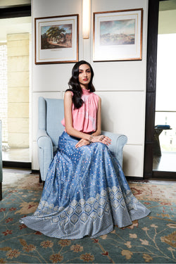 Duckegg Digital Print Kalidaar Lehenga With Top