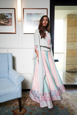 Powder Blue and Pink Lehenga Set