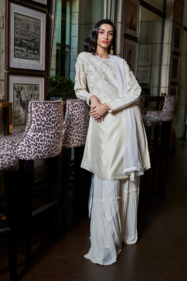Ivory Chiffon Flower Work on Neck and Arms, Garara & Chiffon Dupatta