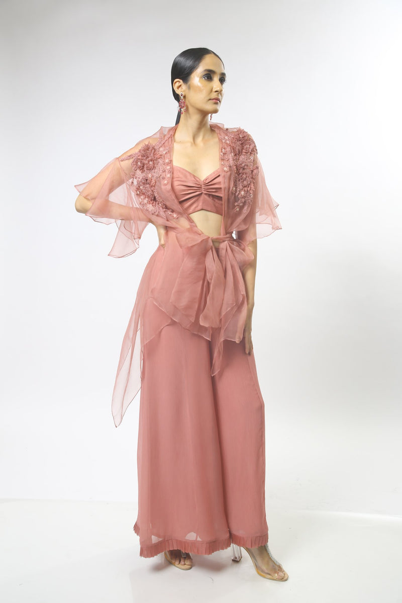 3D Floral Embroidered Draped Front Open Long Top
