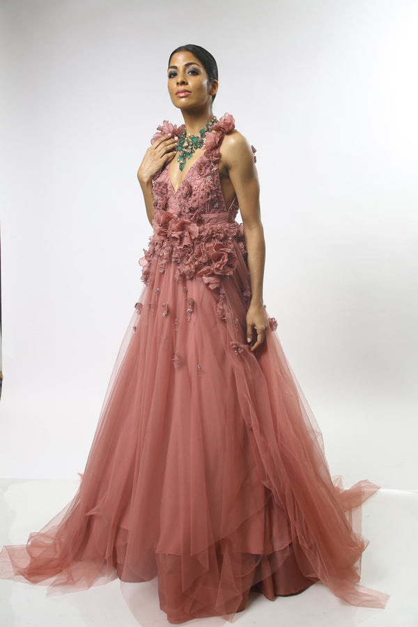 3D Floral Embroidered Tulle Gown