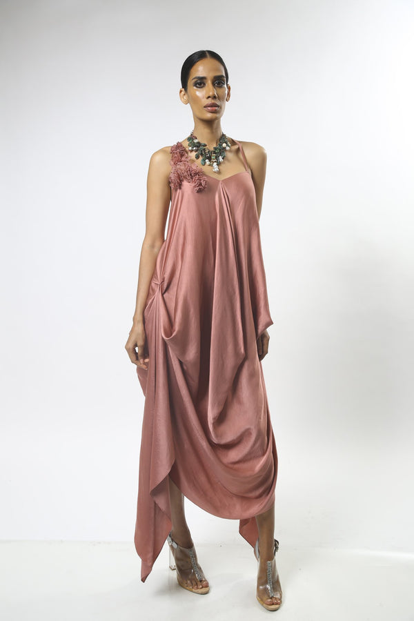 Satin Draped Dress