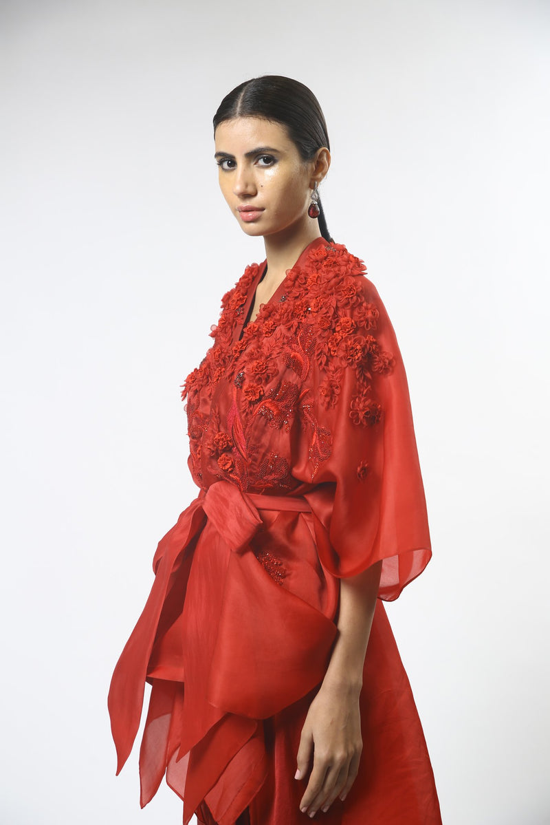 Red Floral Embroidered Draped Front Open Tunic Set