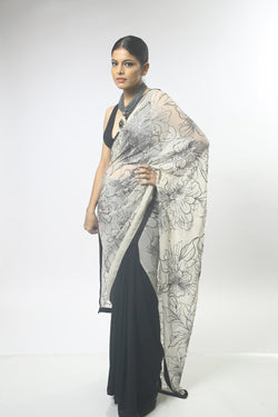 Sequin Embroidery Ivory and Black Saree
