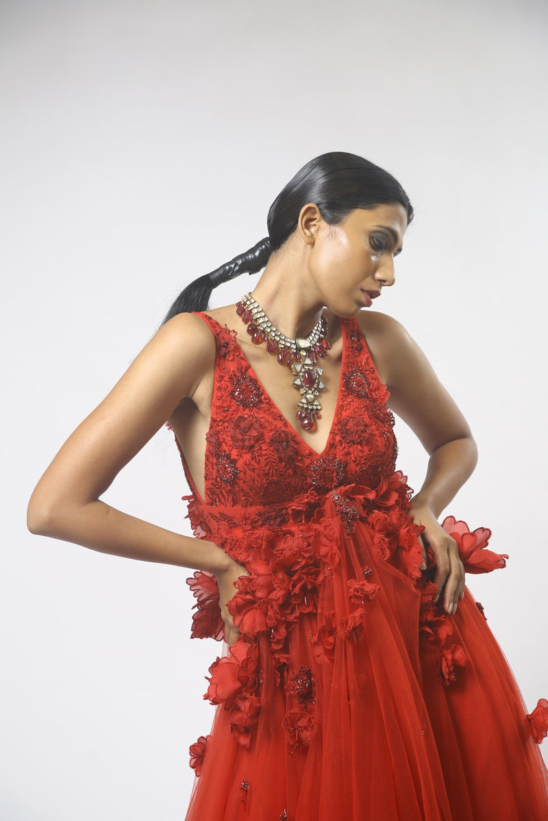 Red 3D Floral Embellished Gown