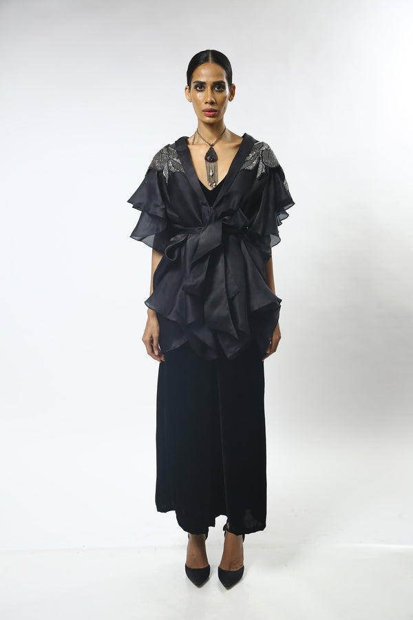 Black Draped Front Open Organza Tunic