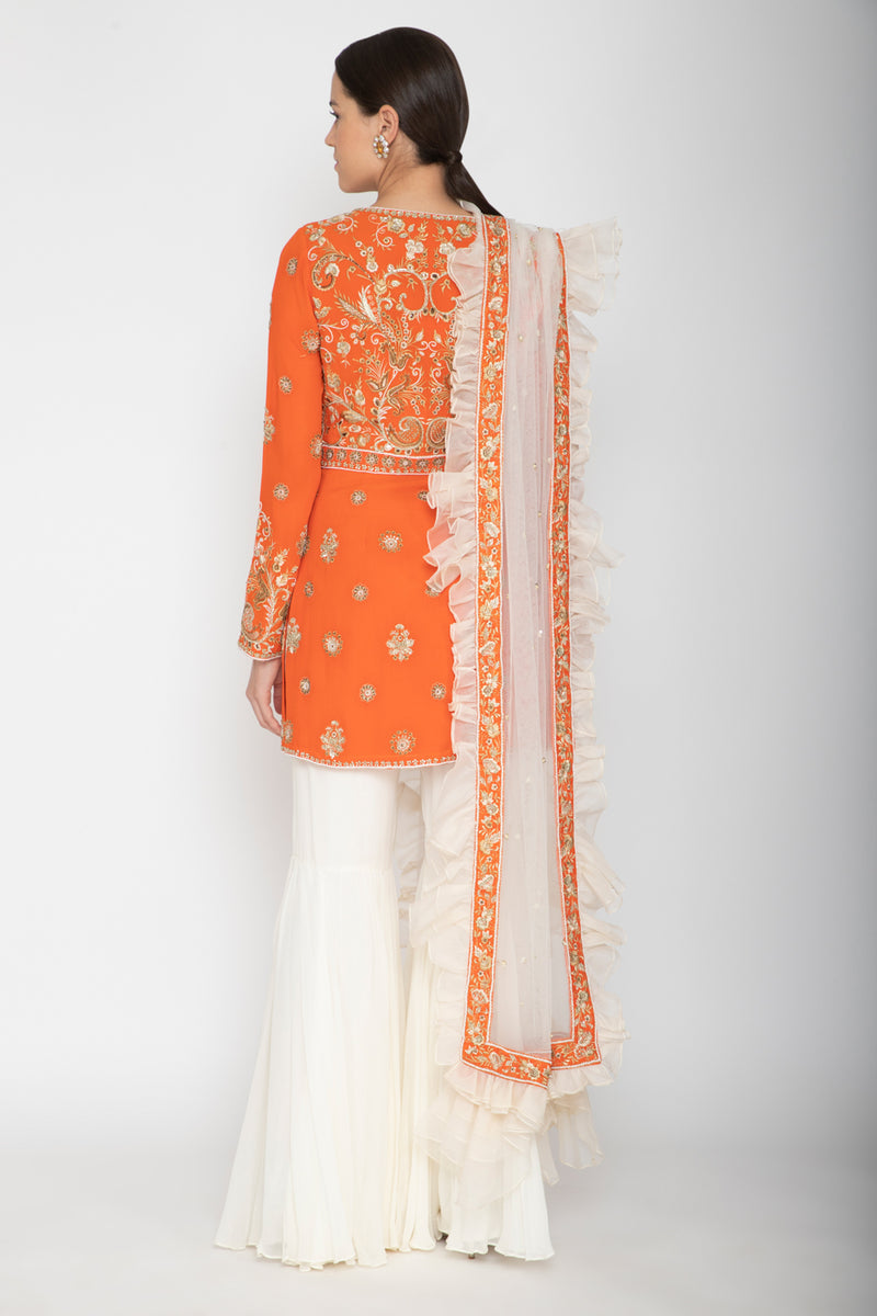 Orange Sharara Set