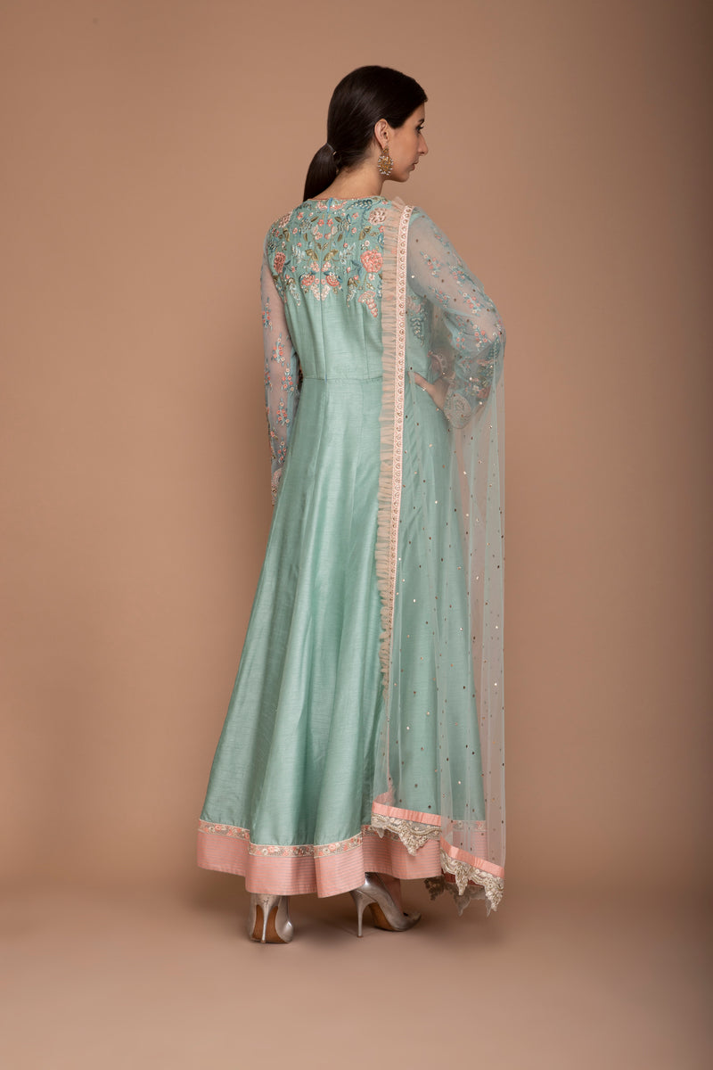 Duck Egg and Peach Coloured Chanderi Anarkali Set