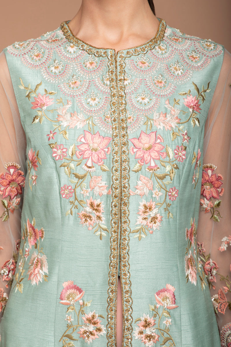 Duck Egg and Peach Heavily Embroidered Jacket Set