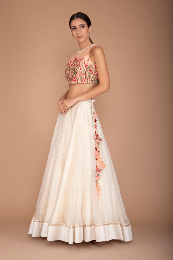 Peach Organza Blouse with an Ivory Lehenga of Raw Silk Border and Net Dupatta