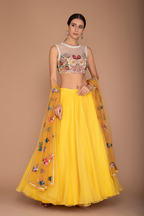 Organza Blouse with Yellow Lehenga and a Dupatta