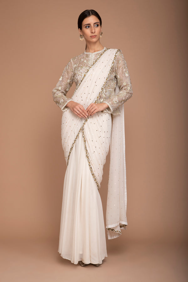 Ivory Zari Work Jacket with Pre Stitched Saree