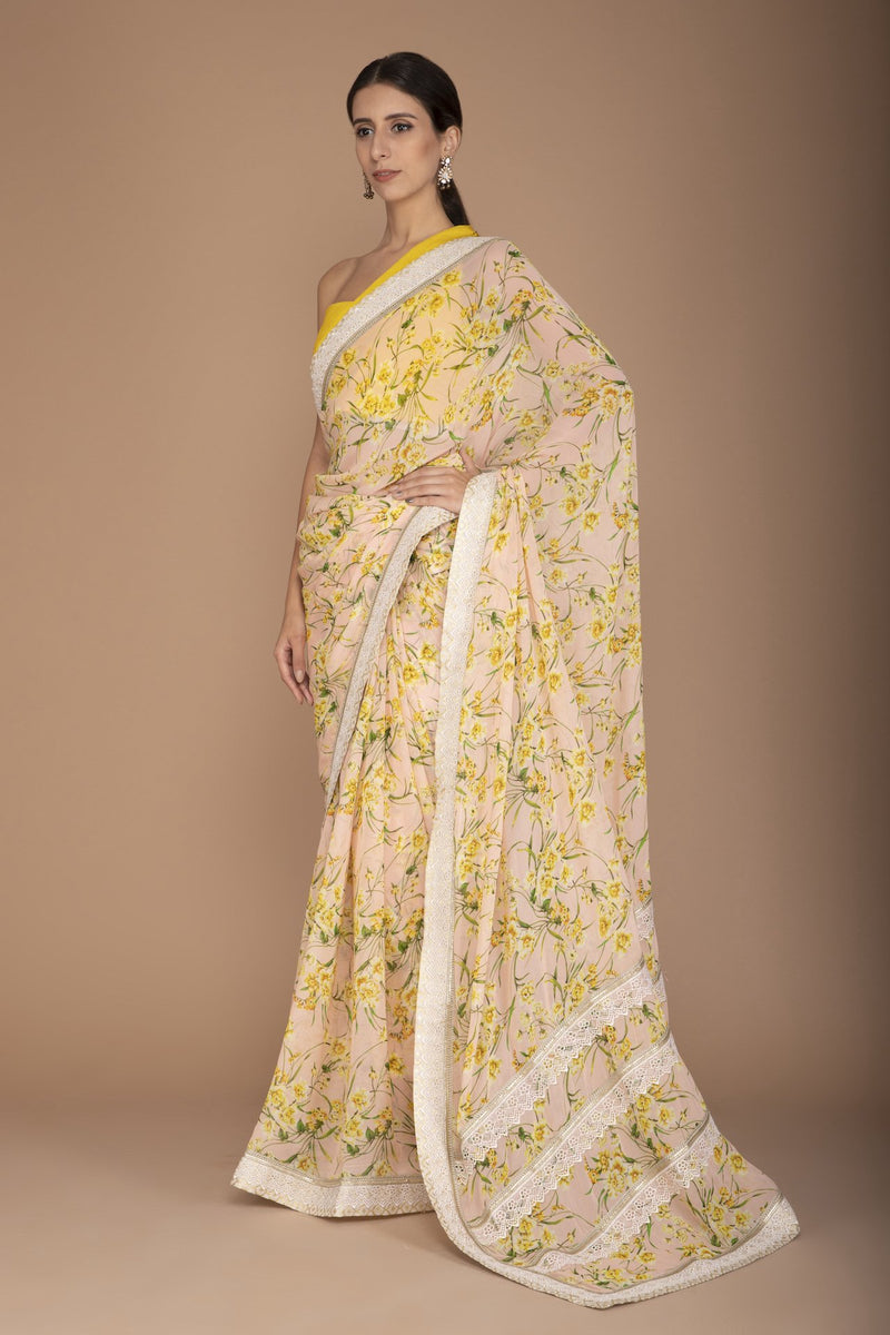 Pink Printed Saree with Mustard Blouse