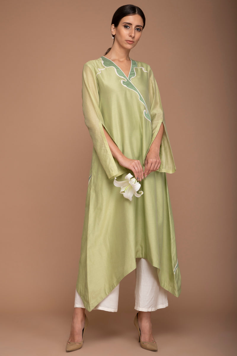 Pistachio Wave Applique Work Kurta Set