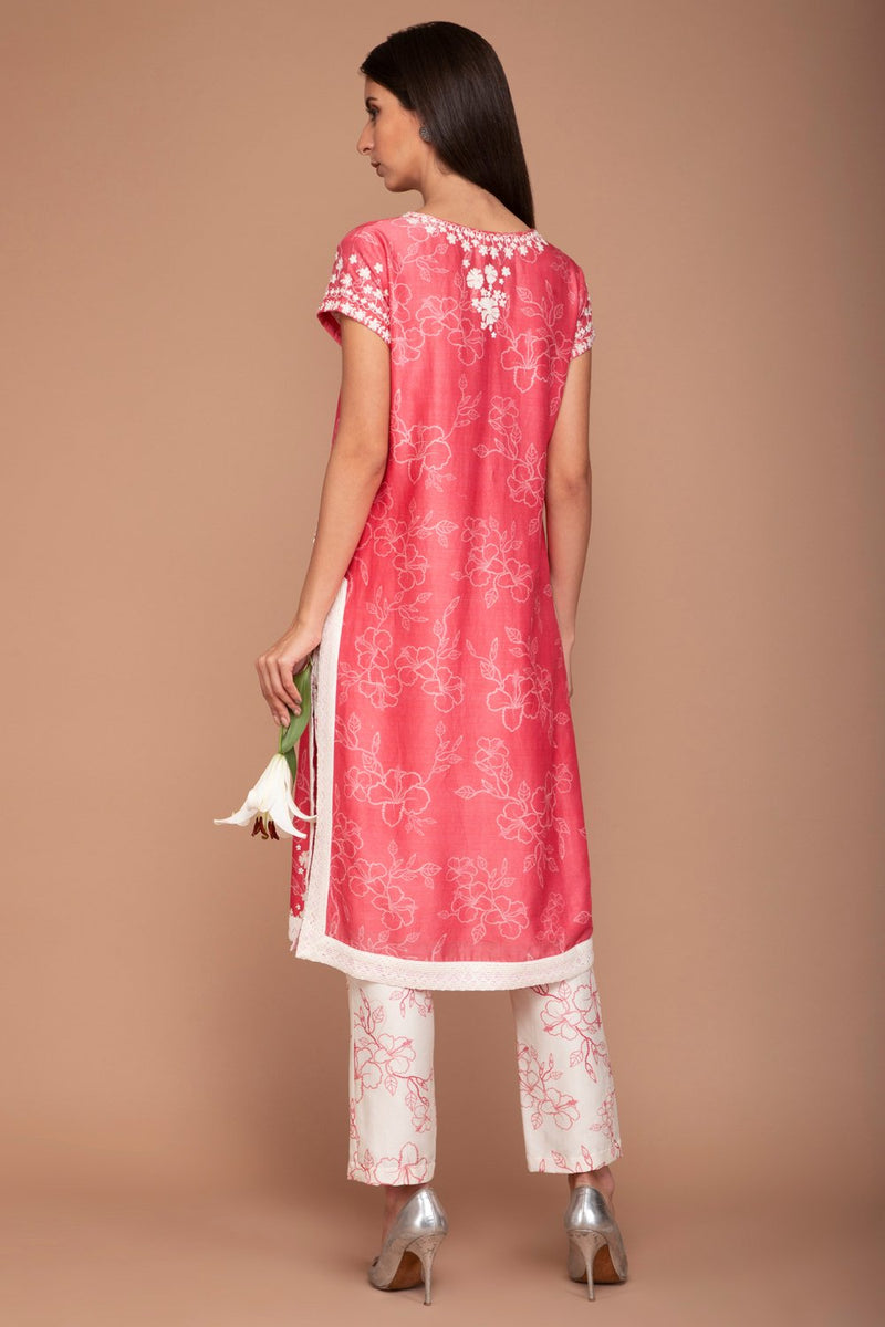 Bright Pink V-neck Digital Print Kurta and Flower Printed Pants with a Plain Dupatta