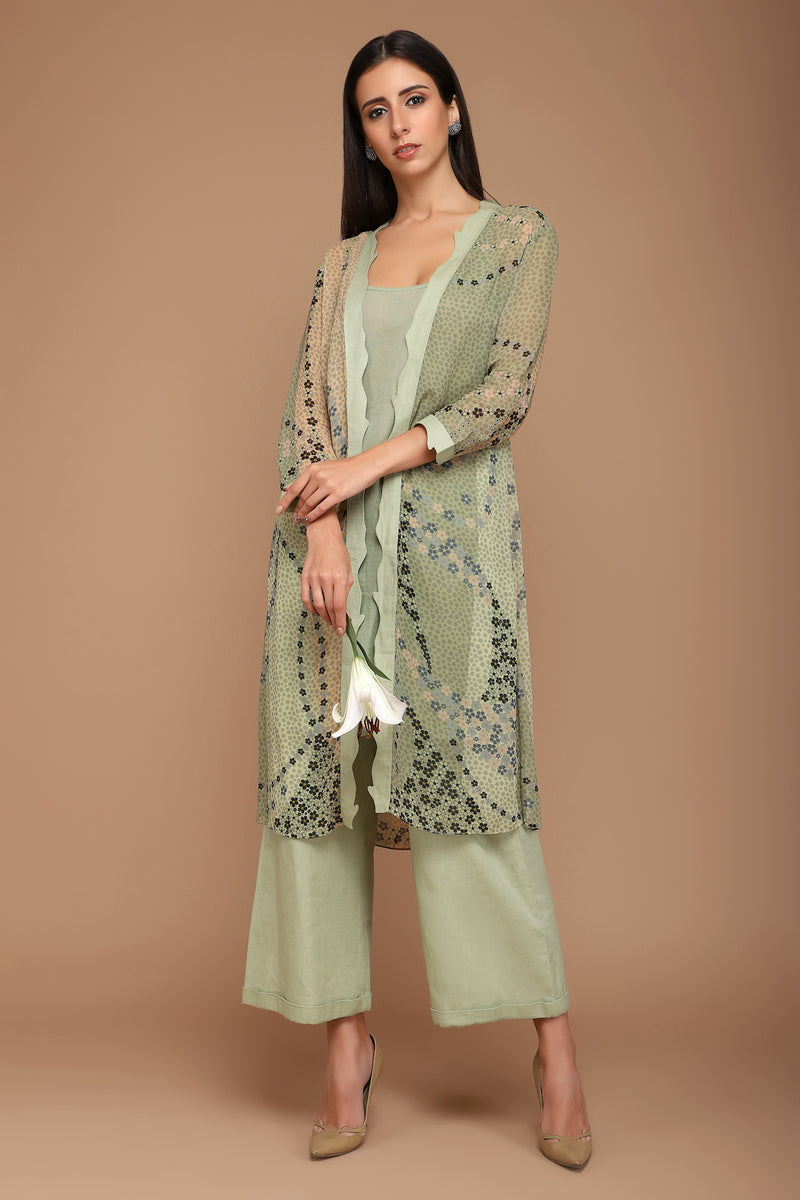 Green Printed Tunic with Pants
