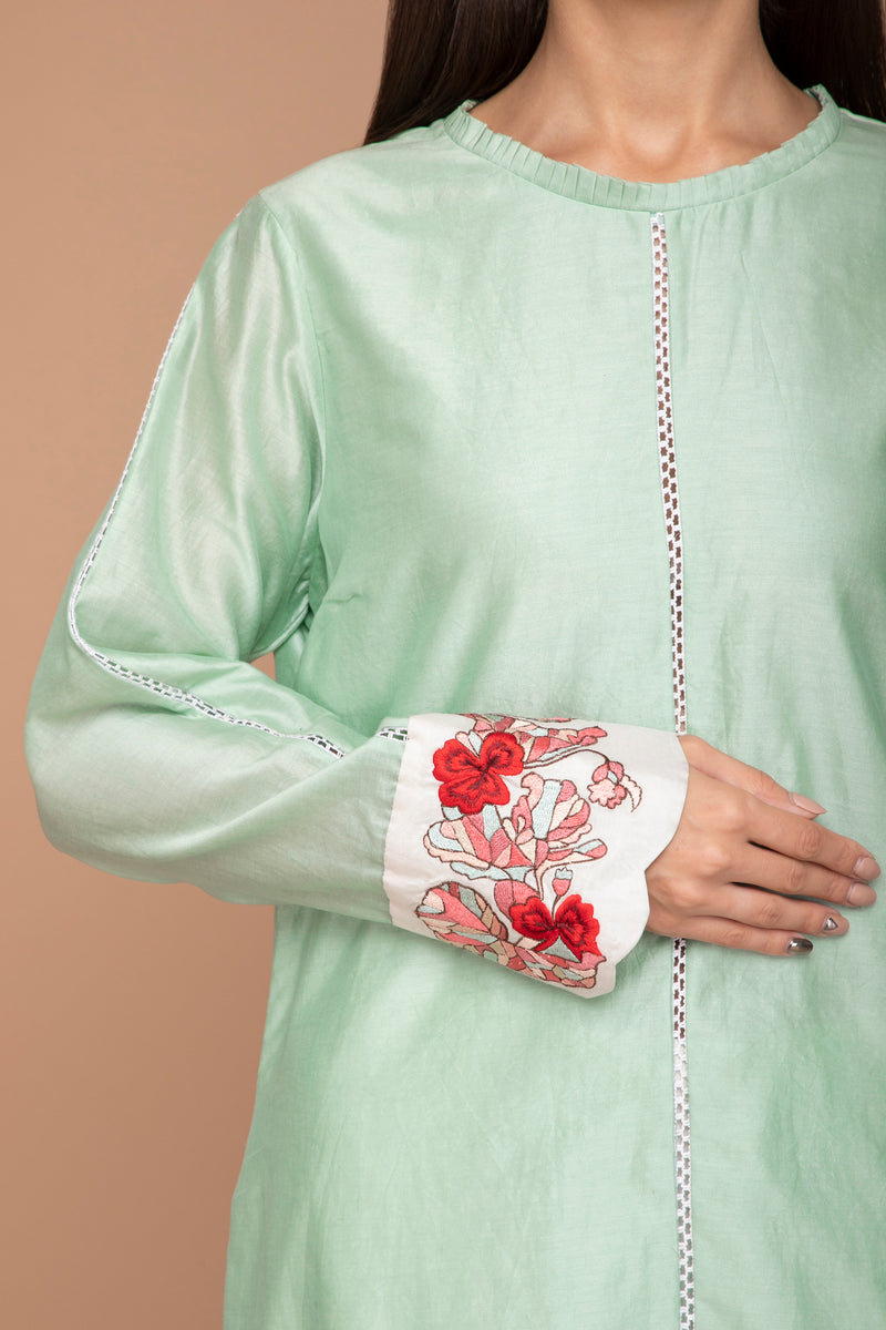 Mint Green Chanderi Kurta with Floral Motifs on the Cuffs with a Dupatta and Ivory Pants