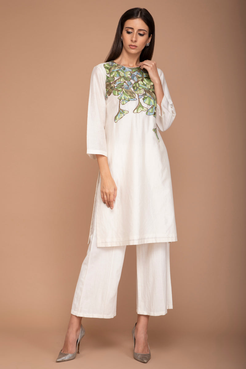 Ivory Kurta with Multi Colour Resham Embroidery on Neck