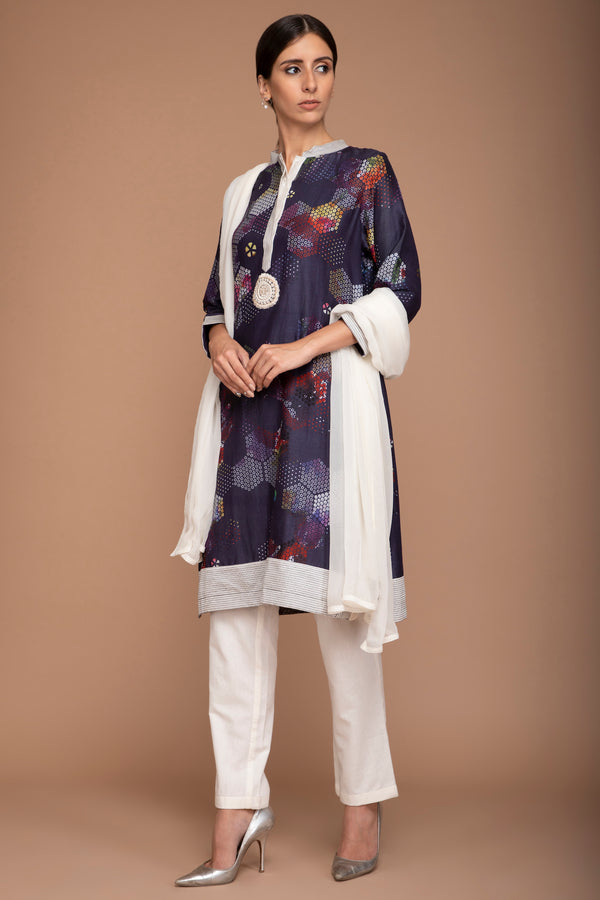 Navy Blue Printed Kurta with Pants and a Georgette Dupatta