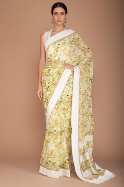 Yellow Printed Saree with Lace Embroidery All Over