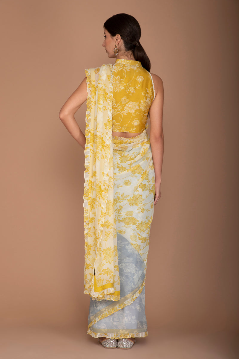 Printed Yellow and Blue Raw Silk Blouse, Chiffon Saree