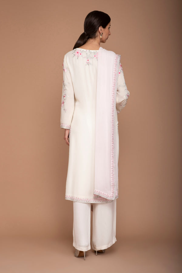 Ivory and Pink Georgette Kurta with Embroidery on Yoke and Pants with Dupatta