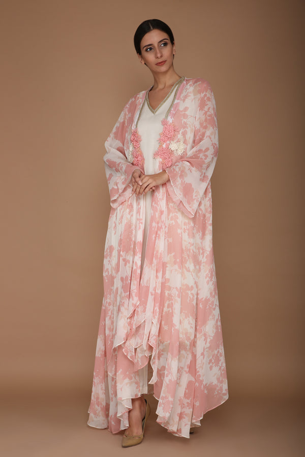 Printed Pink and Ivory Cape Set with Hand Embroidered Flower Motif