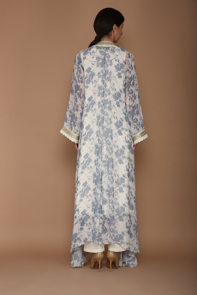 Printed Blue and Ivory Cape Set with Hand Embroidery