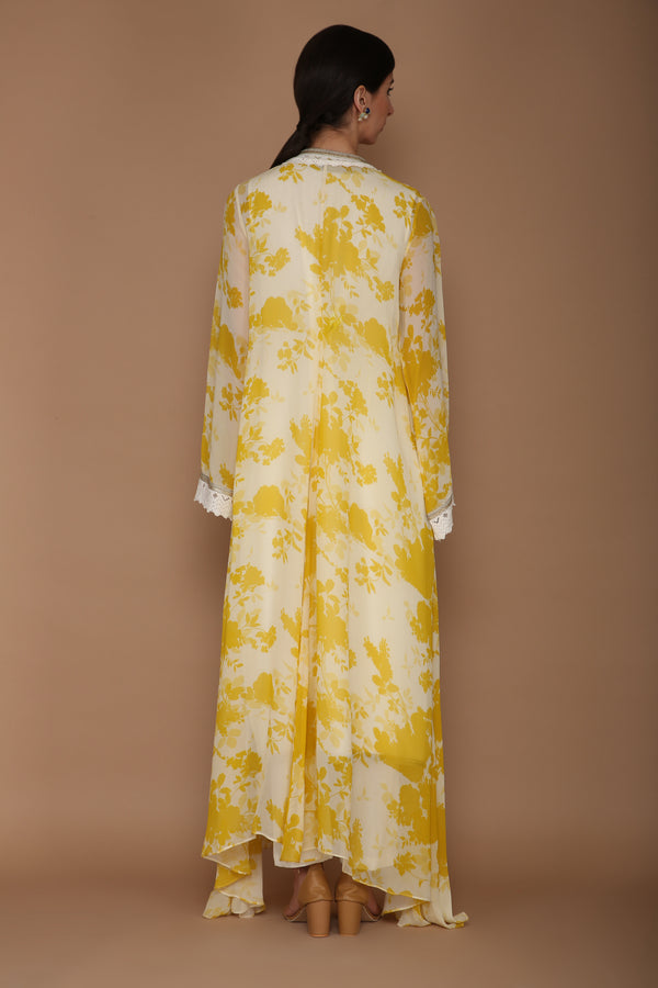Printed Yellow and Ivory Cape Set with Hand Embroidery