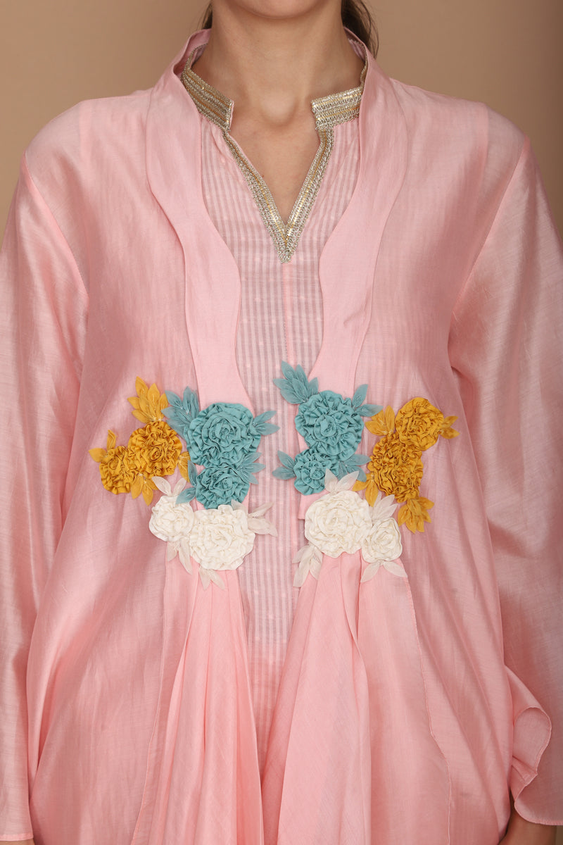 Plain Cape with Gathers and Hand Embroidery