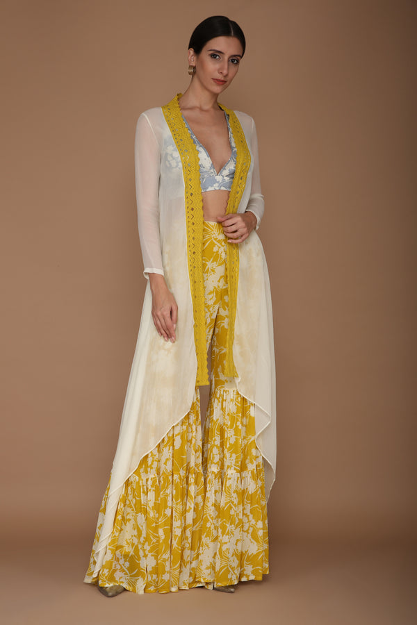 Yellow Base Sharara with Ivory Printed Blouse