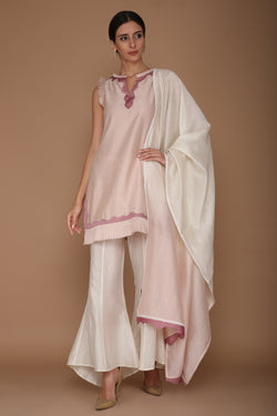 Light Lilac and Ivory Kurta with Tulip Pants and Ombre Wave Dupatta