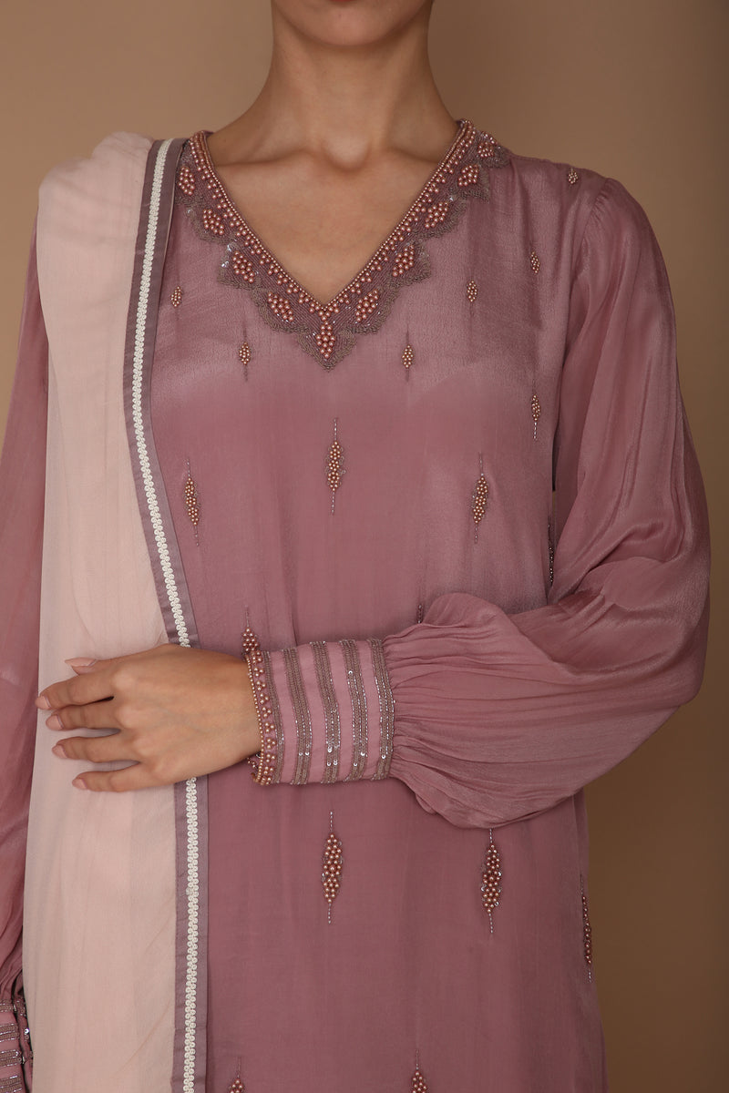 Kurta and Pant with Intricate Pearl Embelishments