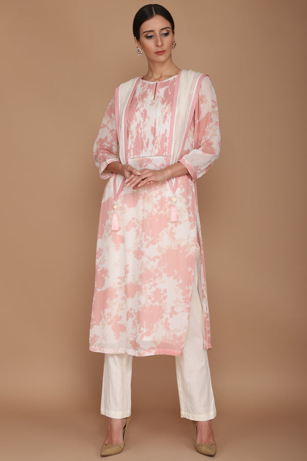 Pink and Ivory Printed Floral Kurta with Ivory Scarf