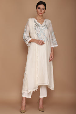 Ivory Chanderi Kurta with Khada Pyjama
