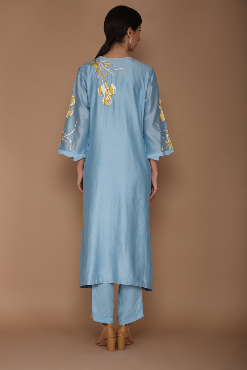 Powder Blue V Neck Chanderi Tunic Set
