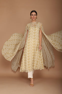 light beige printed cape set