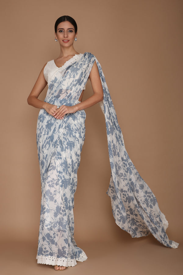 printed blue and ivory saree
