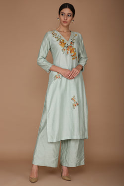 Powder Blue Chanderi Kurta Set