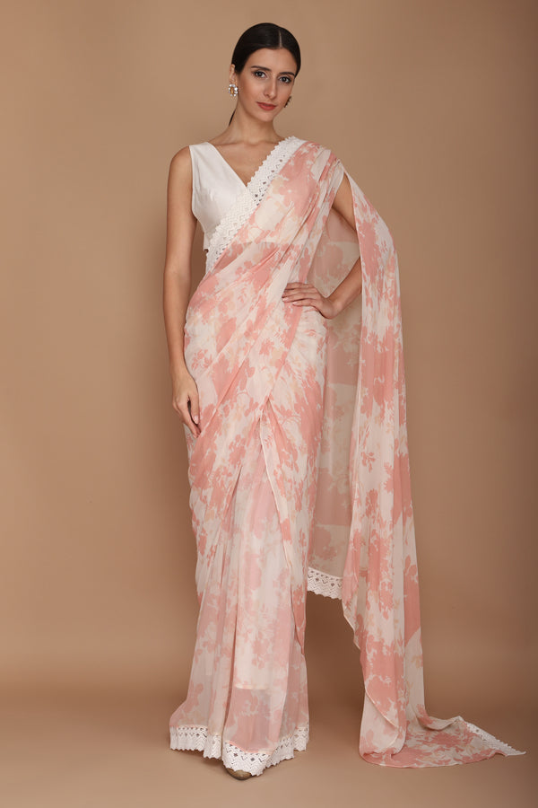 printed pink saree with chanderi blouse