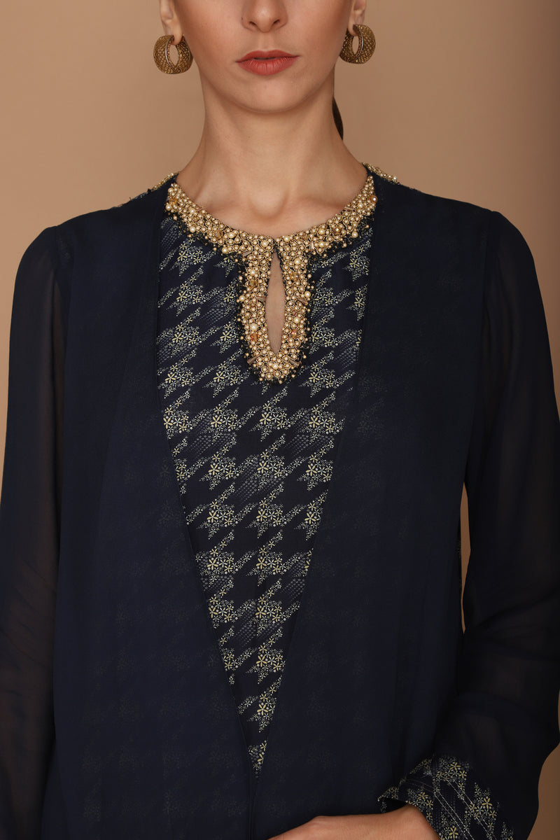 printed midnight blue kurta with churidaar
