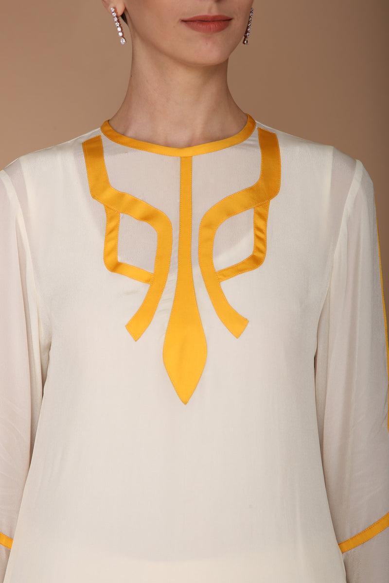 Ivory and Yellow Kurta Set
