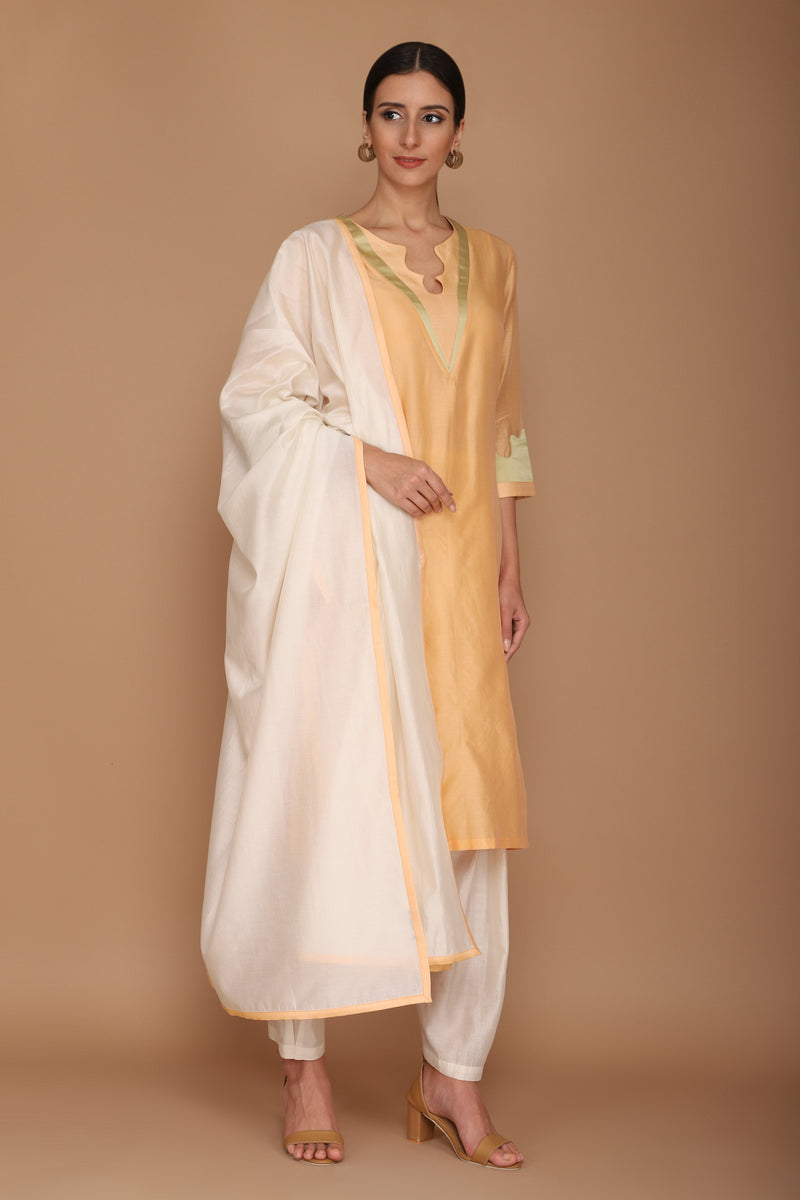 Light Orange Kurta with Dhoti Pants