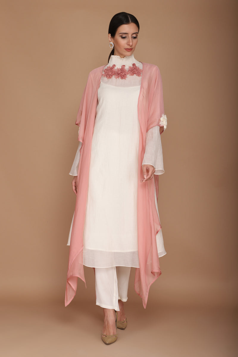 Ivory & Pink Chanderi Kurta With Pants & Cape