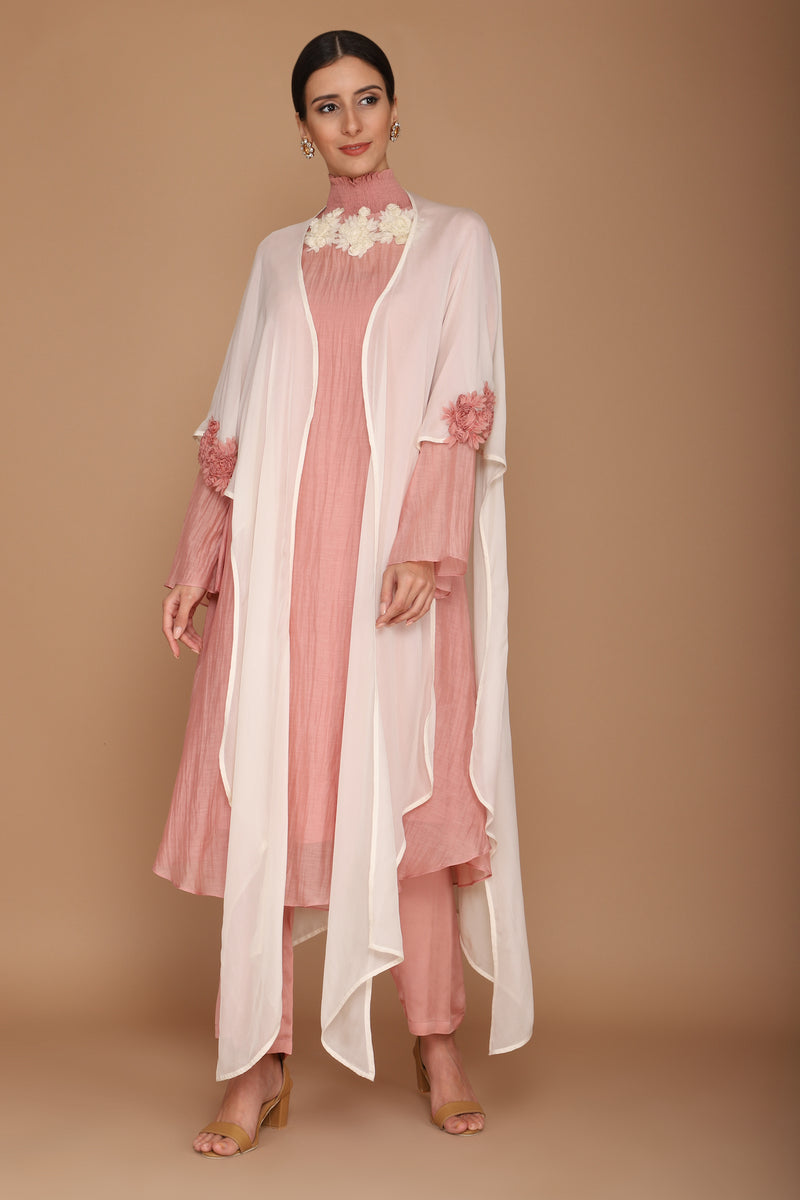 Pink & Ivory Chanderi Kurta and Georgette Cape