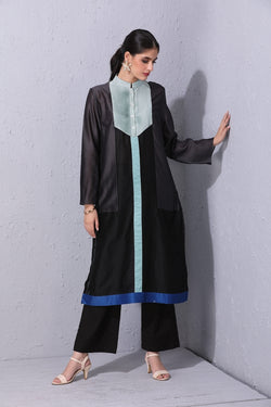 Black Blocking Kurta