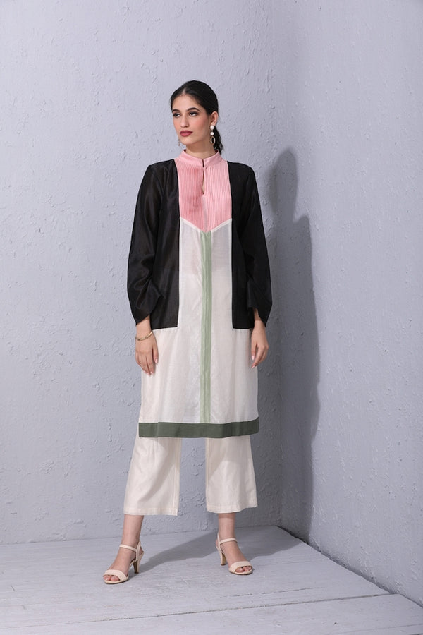 Ivory Blocking Kurta